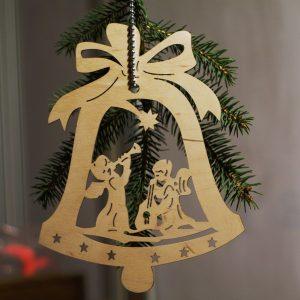 drewniana ozdoba choinkowa, anielski dzwonek